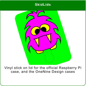 SkidLids Vinyl stick on lid for the official Raspberry Pi case, and the OneNine Design cases